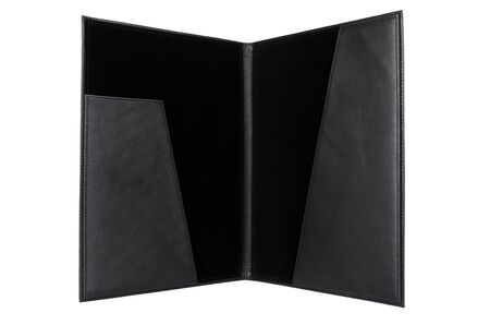 leather open portfolio for documents on a white background.