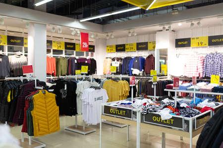 Photo pour discounted clothing store with a large assortment. - image libre de droit