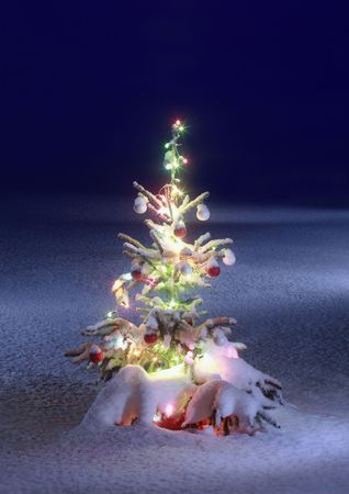 Foto de christmas tree on night background, christmas tree with colored lights - Imagen libre de derechos