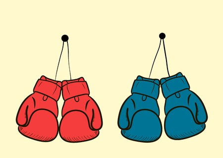 The sketch with two couples color boxing gloves