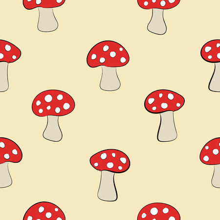 Seamless texture with fly agarics on a light background