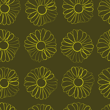 Seamless texture with contours of camomiles against a dark background