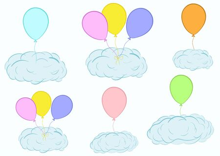 Illustration with blue clouds on balloons in the sky
