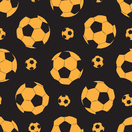 Seamless texture with orange sketches of soccer balls