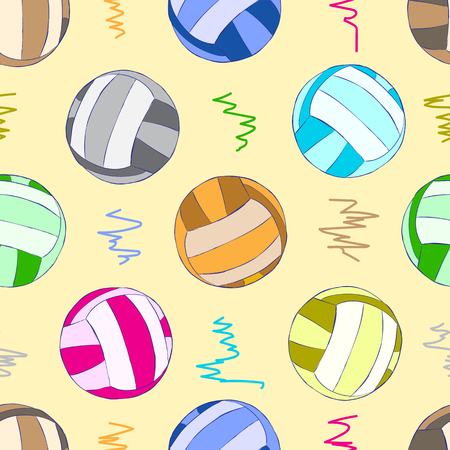 Seamless texture with colorful volleyball balls and curve