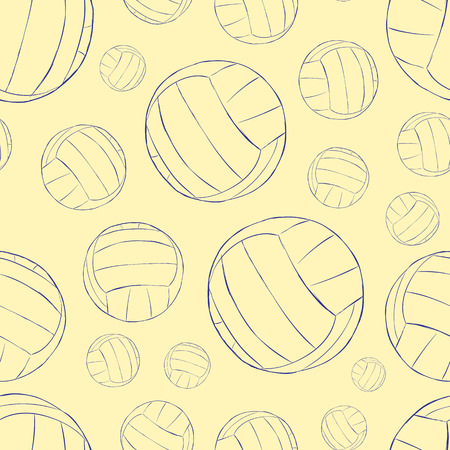Seamless texture with volleyballs contours of balls