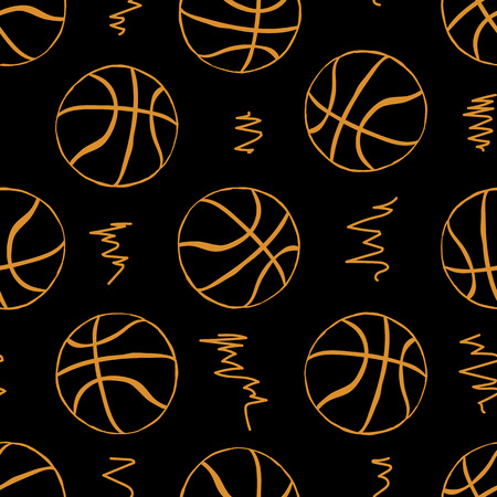Seamless texture with basketballs balls on the dark