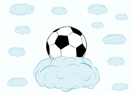 Classical black-and-white soccerball on a blue cloud in the sky