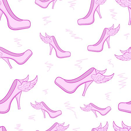 Seamless texture with pink winged women's shoes