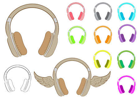 Clipart with various multi-colored winged earphones and a contour