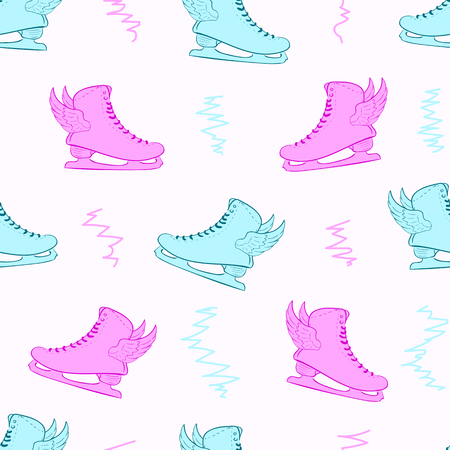 Seamless texture with the winged color skates