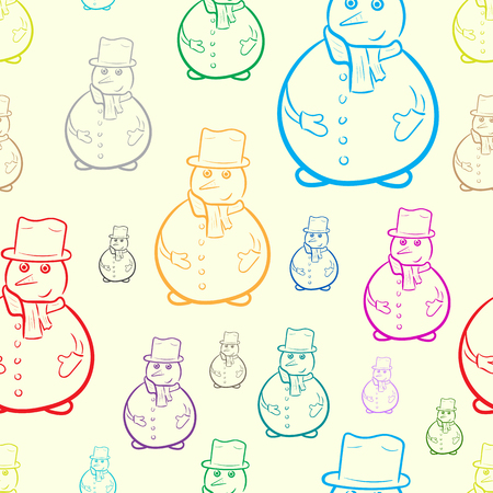 Seamless texture with color snowmen on a light background