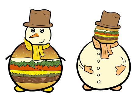 Conceptual illustration with a snowman with a burger