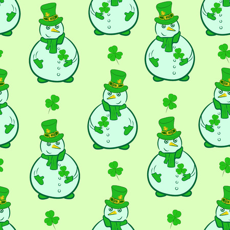 Seamless texture with green snowmen of a St. Patrick's Day