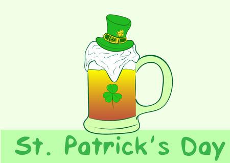 Mug with beer in Saint Patrick's cap