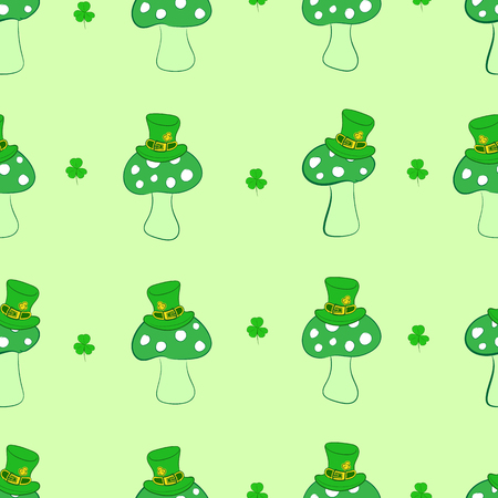 Seamless texture with green fly agarics in a cap of a St. Patrick's Day