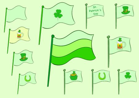 Clipart with green flags of a St. Patrick's Day