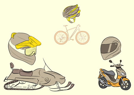 Conceptual illustration with transport and protective helmets