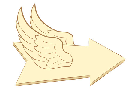 Conceptual illustration with a brown winged arrow