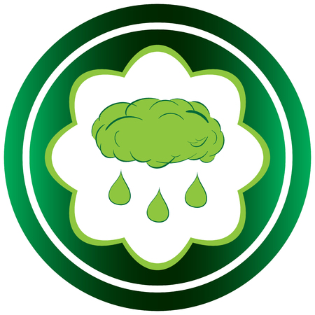 Green icon with a rain cloud and drops