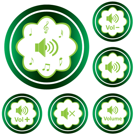 Clipart with green icons with different loudspeakers