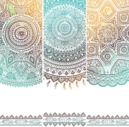 Illustration pour Beautiful vintage floral set of banners for your business - image libre de droit