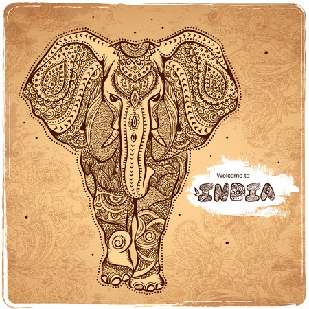 Vector vintage Indian elephant illustrationのイラスト素材