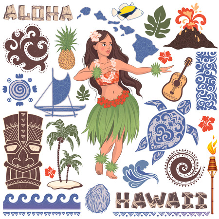 Illustration pour Vector Vintage set of Hawaiian icons and symbols - image libre de droit