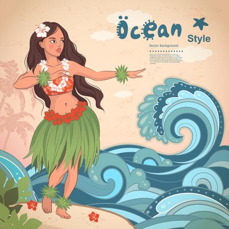 Illustration pour Vector Retro style Hawaiian beautiful hula girl - image libre de droit