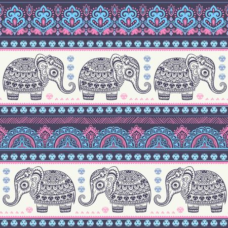 Illustration for Vintage Indian elephant with tribal ornaments. Floral mandala greeting card. - Royalty Free Image