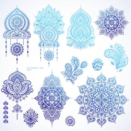 Illustration pour Vector set of Indian floral paisley ornaments. Persian Ethnic Mandala lotus icon. Henna tattoo style banners could be used as greeting card, business card, phone case print, shirt print, coloring book - image libre de droit