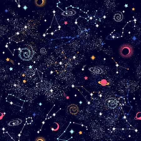Ilustración de Galaxy constilation seamless pattern print - Imagen libre de derechos