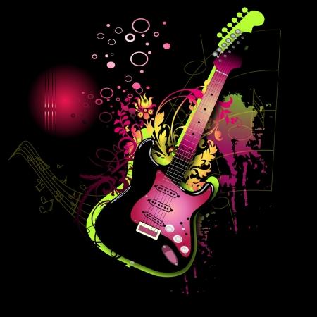 Electro pink guitar