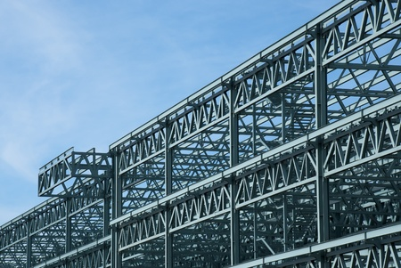 Steel construction frame of a convention center building