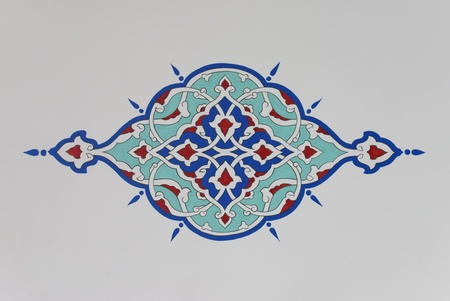 Colorful decorative plant motif from an Ottoman style mosque.