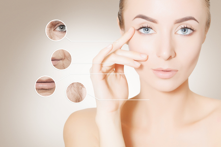 aging problems: woman with old and young skin