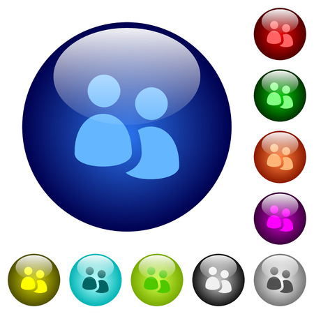 Set of color user group glass web buttons. Arranged layer structure.