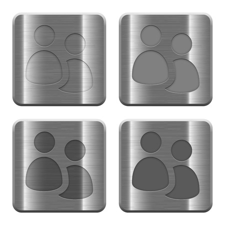 Set of User group buttons vector in brushed metal style. Arranged layer, color and graphic style structure.