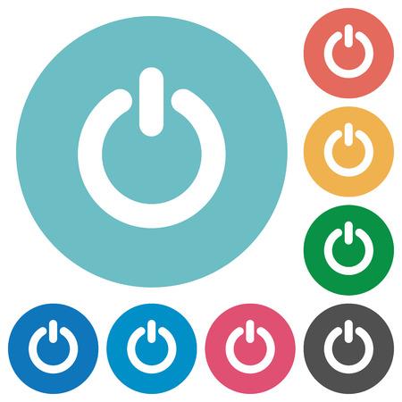 Illustration pour Flat power-off icon set on round color background. Light color theme. - image libre de droit