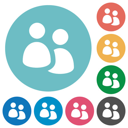Flat user group icon set on round color background. Light color theme.