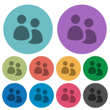 Color user group flat icon set on round background.