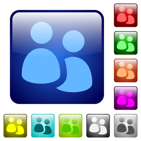 Set of user group color glass rounded square buttons