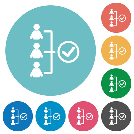 Flat successful teamwork icon set on round color background.
