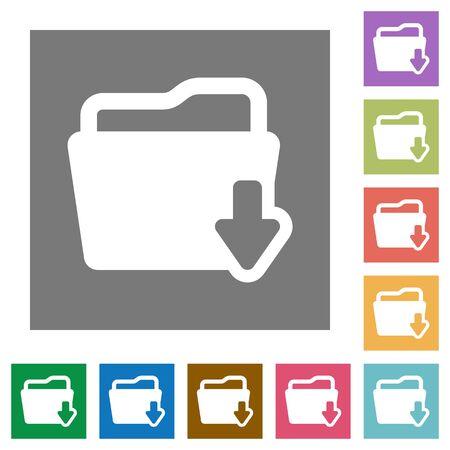Illustration pour Folder download flat icon set on color square background. - image libre de droit