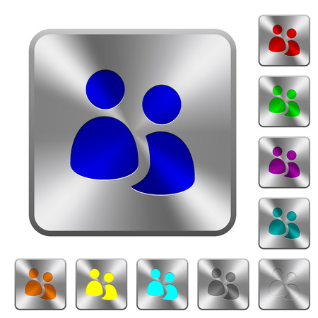 Engraved user group icons on rounded square steel buttons