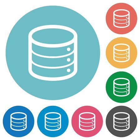 Flat database icon set on round color background : Royalty