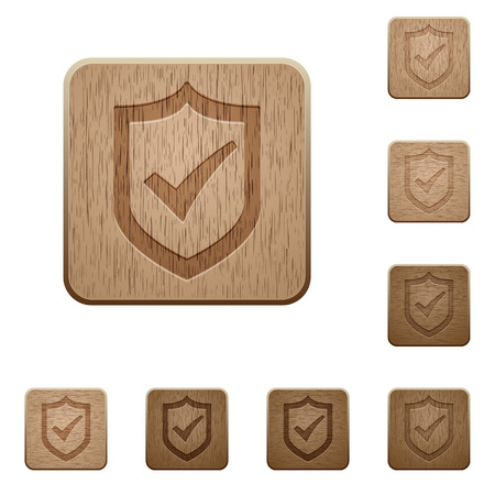 Set of carved wooden Active shield buttons in 8 variations.