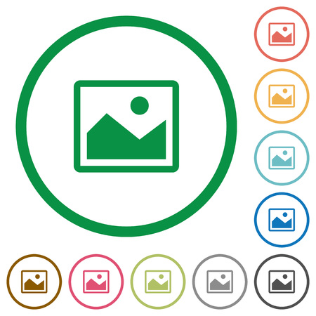 Illustration for Set of image color round outlined flat icons on white background - Royalty Free Image