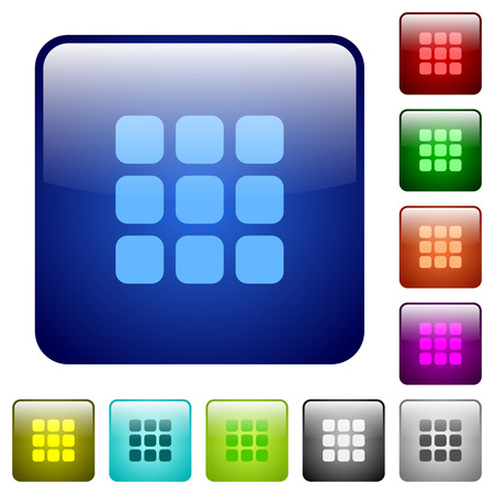 Set of color small grid view glass web buttons.