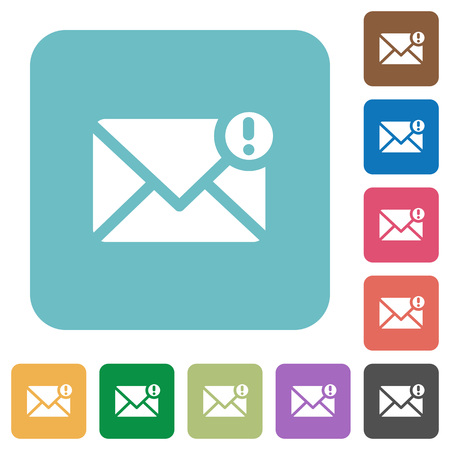 Flat important message icons on rounded square color backgrounds.
